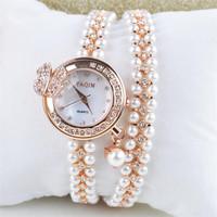 2015 Hot Wholesale Women Pearl Original Relogio Crystal Bangle Watch Ladies Cuff Quartz Watch Luxury Casual watches 02-5