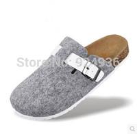 Free Shipping 2015 New Men Cork Shoes Babouche Birkenstock Sandals Flats Slides Men Unisex Closed Toe Sandals Buckle Slippers