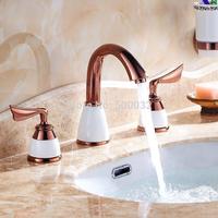 Torneira Banheiro Two Handles Deck Mounted Rose Gold Bathroom Widespread Faucet Bathroom Basin sink Mixer Tap