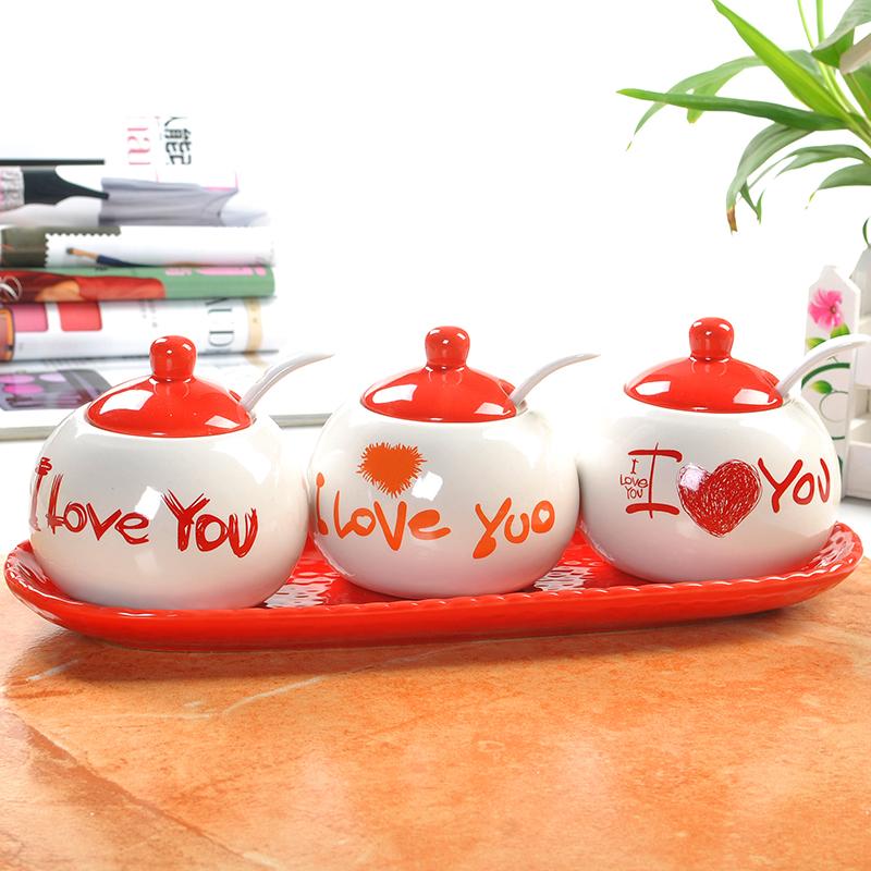 Free shipping New product Eco-Friendly 'LOVE YOU' pattern ceramic pot seasoning wedding gift craft Festive activities(China (Mainland))