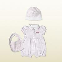 2015 baby girls clothing sets babies bibs+ romper+cap hat children's 3pcs suit cotton material brand design for 9-24M Baby204