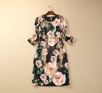 S-XXL 2015 new runway spring Brand vintage Elegant O neck 3/4 sleeve rose flower print plus size one piece dress 612150