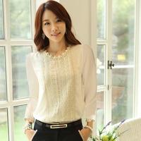 New 2015 Slim Women Long Sleeve Chiffon Shirt Lace Pearl Decoration Blouse Tops Free Shipping&Wholesales