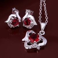 Wholesale 925 Silver Jewelry Sets Fashion Jewelry,red rose E+N Best Service SMTS658