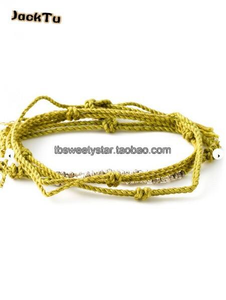 2015 women new design yellow mixed nuggets triple wrap bracelet(China (Mainland))