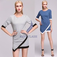 New Stylish Lady Fashion half Sleeve O-Neck Dress Slim  Mini Dress