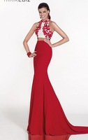 Hot Sell ! Fit and flare Halter Neckline Designer Two Piece Set Gown ,Social Dress 2015 with Large Contrasting Embroidery