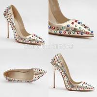 Colorful Rivets Spike high heel pumps Latest design Metallic pumps for women