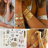 10 Patterns Metallic Gold Silver Temporary Tattoos Jewelry Flash Body Nail Beach Tattoos