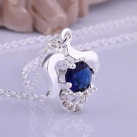 Wholesale 925 Silver Necklaces 925 Silver Fashion Jewelry,blue stone apple Necklace Best Service SMTN516