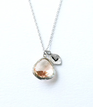 Bridesmaid Gifts Initial Stone Necklace Peach Stone Initials Necklace Women 2015 Boho Jewelry cc