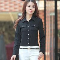 2015 new Female long-sleeved cotton shirt blouse ol British style blouse shirts Slim wild stretch shirt women's
