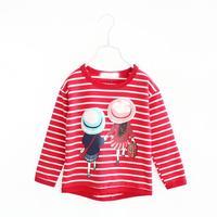 New 2015 Korean Girls Stripe T Shirt Children Spring Cartoon Printed Fashion Tee Shirt Kids Tops Blouse 4563