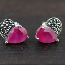 Free Shipping Fashion Jewelry Tai Silver Red corundum Women Vintage Heart Charm Stud Earrings High Quality Gifts WE30064(China (Mainland))