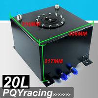 J2 RACING STORE-BLACK 20L Aluminium Fuel Surge tank mirror polish  Fuel cell  w/o sensor foam inside PQY-TK14BK