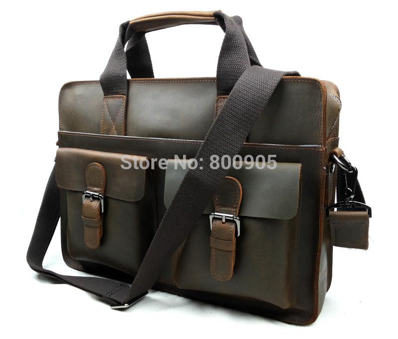 retail Fashion genuine Leather men's bag man vintage shoulder bags, men man's messenger pockets bag deep brown color(China (Mainland))