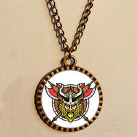 Wholesale 6$ Minnesota Vikings Necklace  viking warrior  Art Glass Pendant Chain Gift Vintage lot Distributor