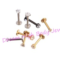 New Arrival Lip Stud Labret Piercing Ring Clear Zircon 316L Stainless Steel Gold Black Round Heart Five Star 8mm 10mm 60pcs/lot