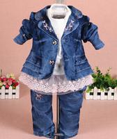 new 2015 girls denim clothing sets 3pcs kids clothes baby girl clothes sets set girl children garment  girls jeans suit