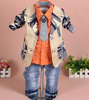 new 2015 boys coat+shirt+pant+tie clothing sets 4pcs kids clothes baby boy clothes setchildren garment boys clothes sets