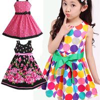 2015 summer children's clothing fashion casual high quanlity baby girl dress princess print lovely flower girls dresses
