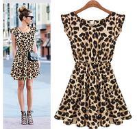 2015 Summer Fashion Ladies Sexy Sundress Sleeveless O-neck Leopard print Party Dress