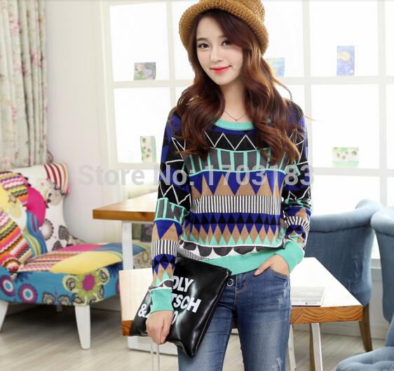 Female Sweater Hot Selling O-Neck Pattern Women Knits Pullovers Stylish Sweater(China (Mainland))