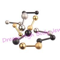 Ear bone nail Length 6mm Titanium Black Steel Golden Frosted Earring Stud straight barbells Eyebrow 3mm 4mm 5mm Ball Newest