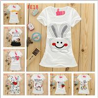 2015 new summer Women's T-shirt cotton tshirts Flowers/cartoon printed round collar short sleeve girls t shirt top tees 24models
