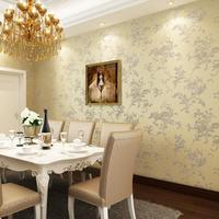 2015 Pastoral flowers woven flocking wallpaper bedroom living room dining background