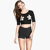 crop top t shirt women cropped for roupas femininas tops clothing blusas chrysanthemum t-shirt croped tshirt women's fashion