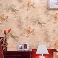 2015 Southeast Asian style clothing bird wallpaper living room den Asian style hotel restaurant