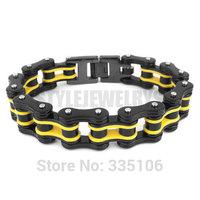 Free shipping! Yellow & Black Heavy Motor Biker Bracelet Stainless Steel Jewelry Bicycle Chain Men's Bracelet SJB0260