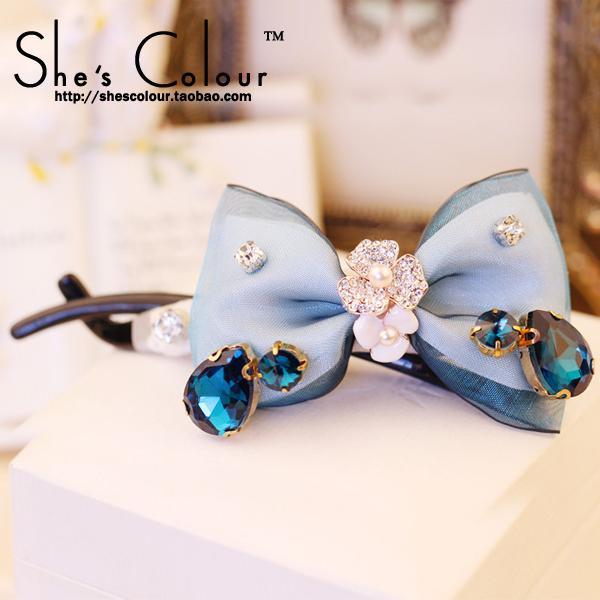 SUN FLOWER brand original Korean hair accessories hair accessories diamond bow hair twisted character chuck clip(China (Mainland))
