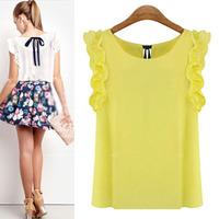 Feitong New Arrival Fashion Slim Summer Womens Sleeveless Blouse Casual Chiffon Tank Tops T-Shirt Free Shipping&Whloesale