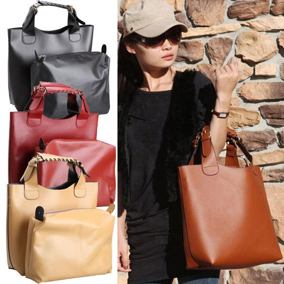 New Fashion Euramerican Vintage Faux Leather Shopper Tote Handbag Bag for Women NVIE(China (Mainland))