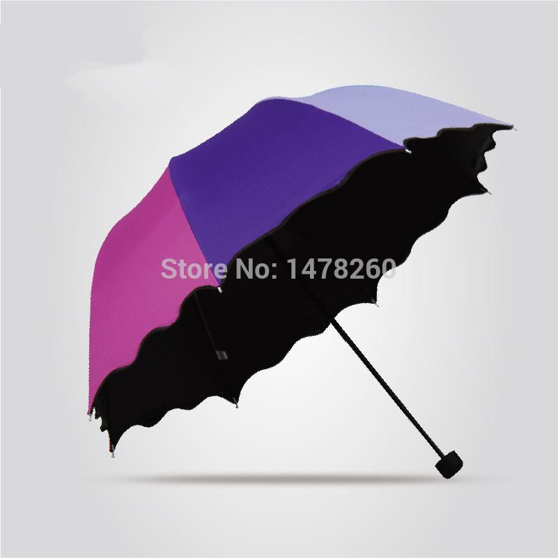 diy flounced rainbow cute umbrella rain women elegant sun uv protection umbrella outdoor fresh creative folding mini umbrellas(China (Mainland))