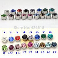 No pierced Hot sell 17 colors 9mm Diameter titanium steel Women Men unisex Magnetic stud earrings Austrian crysta