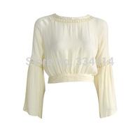 MT1441 Casual dress crop top fashion summer T shirt shirt white women clothing chiffon blouse ladies cropped crop top t-shirts