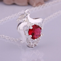 Wholesale 925 Silver Necklaces 925 Silver Fashion Jewelry,red stone apple Necklace Best Service SMTN518
