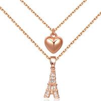 2015 Fashion Women Girl Casual Necklace Long Link Chain Eiffel Tower Heart Pendant Necklace Austria Crystal Jewelry collares
