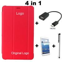4 in 1,Luxury Slim Original Leather Cover Case For Samsung Galaxy Tab 3 Lite T110 T111 7inch Tablet + OTG + Stylus + Film