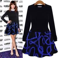 2015 New Spring Autumn Women Suit Dress Long Sleeve Sweater Tops+ Print Set Vestidos Casual Dress Vestido De Festa