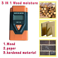 Free shipping 3 IN 1 digital wood/paper/concrete moisture meter DM1100