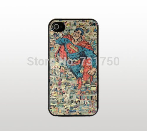 Cool Black Plastic Snap-On Cover - Comic Book Design Retro Superman Comic For iPhone 4 4s Case - Discount sale Free Shipping(China (Mainland))