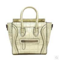 Gold silver smiley bag micr Small for Crocodile women's genuine leather handbag one shoulder cross-body portable small bag