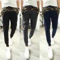 2014 Autumn Mens Harem Pants Slim Fit Camouflage Stitching Small Leg Open Sports Hip Hop Street Dance Pants Free Shipping