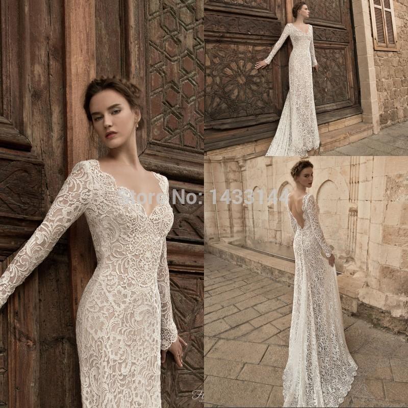 Jasmine Plunging Neckline Wedding Dress Long Sleeves 2015 Sexy V Back Lace Long Bridal Gowns Train Vestido De Noiva Renda(China (Mainland))