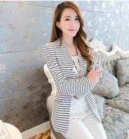 Diana 2015 spring and autumn paragraph stripe slim medium-long plus size clothing female blazer 15020501