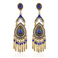 Fashion statement vintage Drop earrings European style waterdrop blue crystal long tassel Earrings for women jewelry  ER-027511
